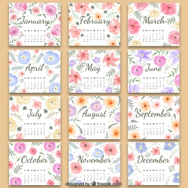 Free 2016 Calendar with Flowers