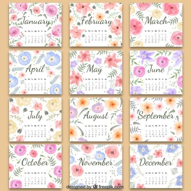 カレンダー カレンダー 2015 かわいい 無料 : Free 2016 Calendar with Flowers