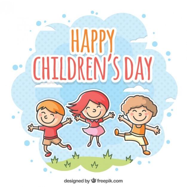 幸せな子供の日のイラスト 無料ベクター