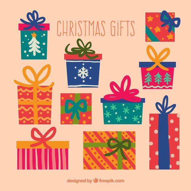 カラフルなクリスマスの贈り物 無料ベクター