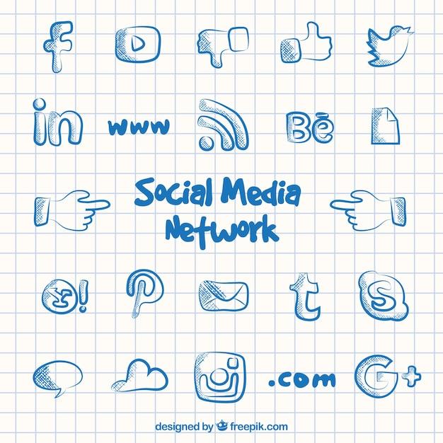 Социальные сети средств массовой информации иконки в каракули стиль Бесплатные векторы