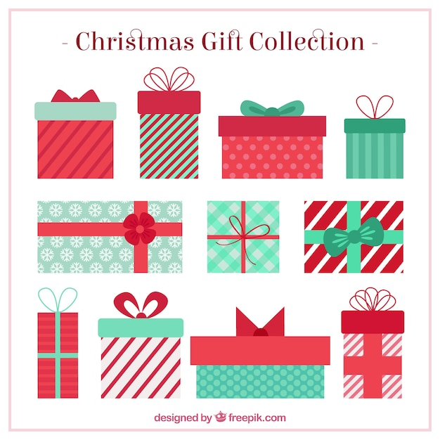 クリスマスプレゼントコレクション 無料ベクター