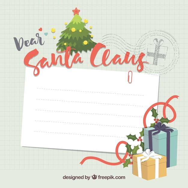 サンタクロースの手紙テンプレート ベクター画像 無料ダウンロード