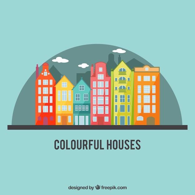 Красочный город дома Бесплатные векторы