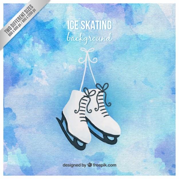 手描きアイススケートの背景 無料ベクター