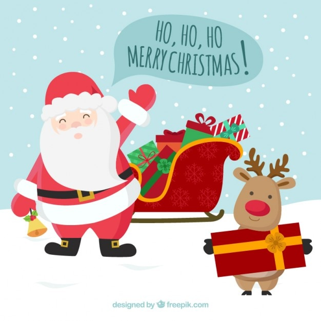 サンタクロースやトナカイ、クリスマスのご挨拶 無料ベクター