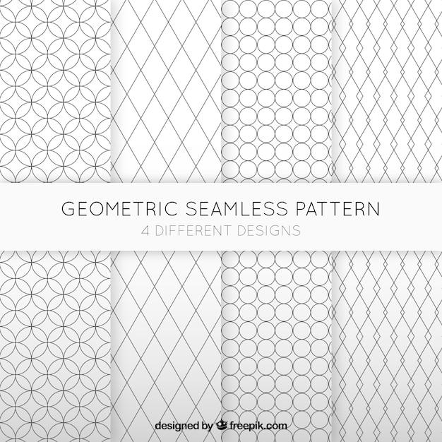 幾何学的なシームレスなパターンのコレクション 無料ベクター
