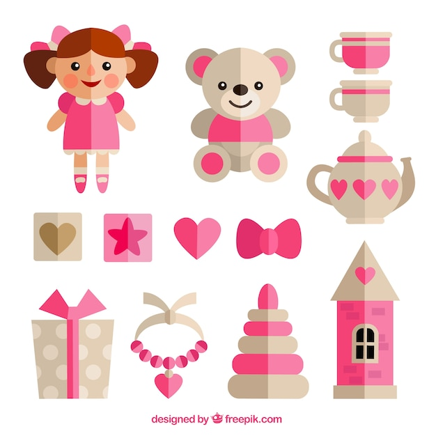 フラットなデザインの女の子のおもちゃ 無料ベクター