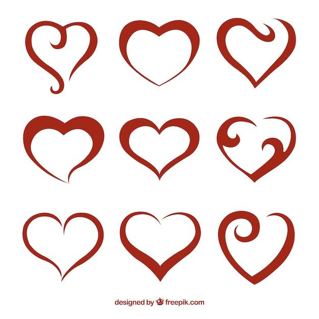 Абстрактные красные сердца пакет Бесплатные векторы