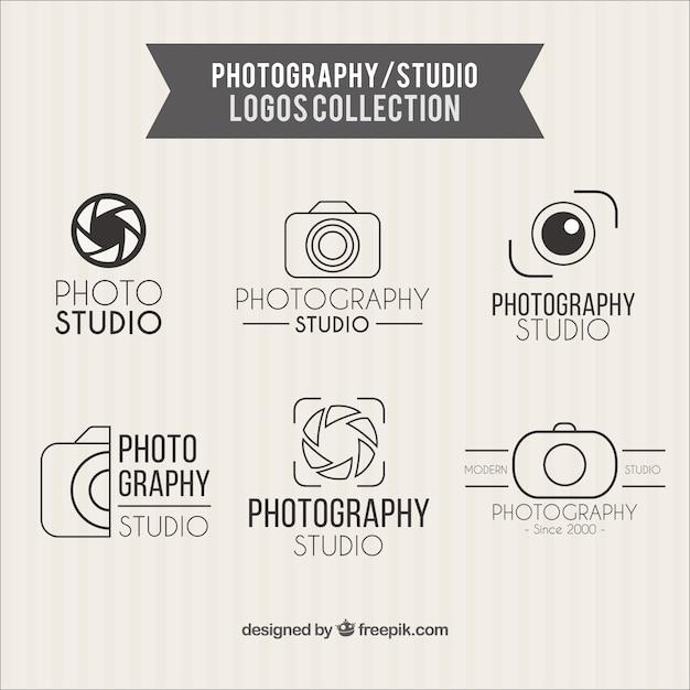 写真スタジオのロゴコレクション 無料ベクター