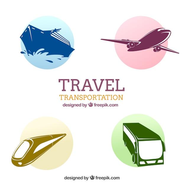 Путешествия транспортные иконки пакет Бесплатные векторы