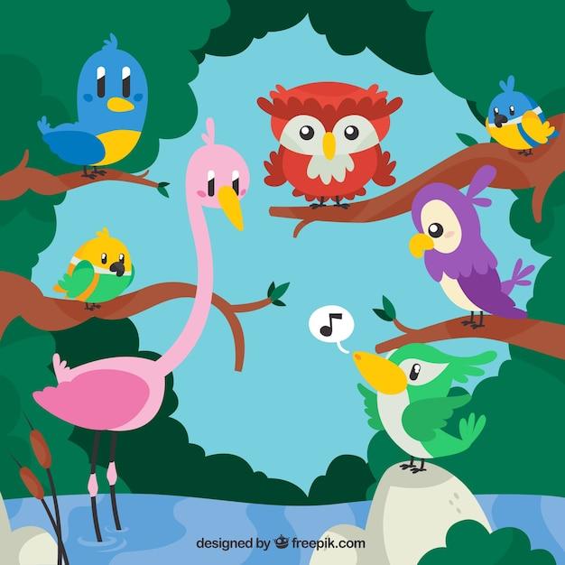 Мультфильм животных в природе иллюстрации Бесплатные векторы