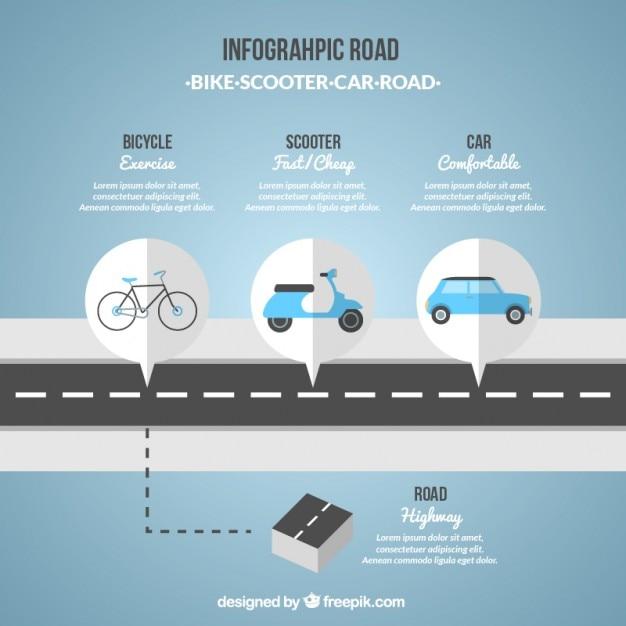 Инфографики дорога в голубых тонах Бесплатные векторы
