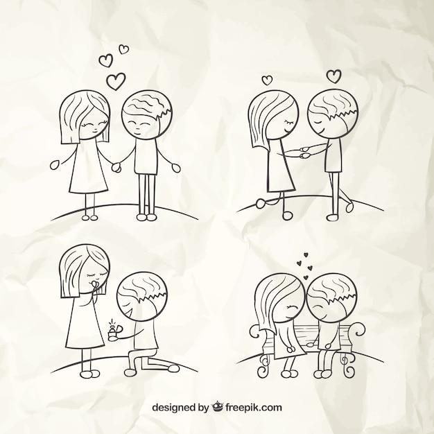 手描き愛のカップル 無料ベクター
