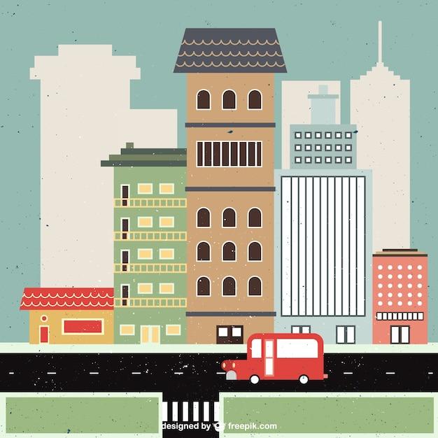 フラット街並みイラスト ベクター画像 無料ダウンロード