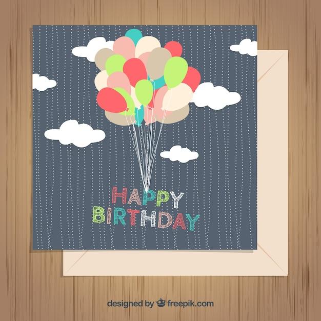 カード ギフトカード テンプレート : Free Vector Birthday Balloons
