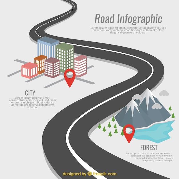 道路インフォグラフィック 無料ベクター