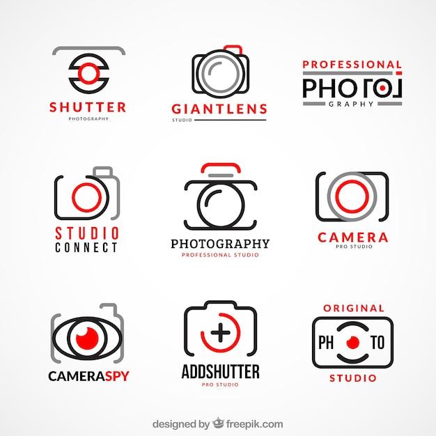 写真のロゴのコレクション 無料ベクター