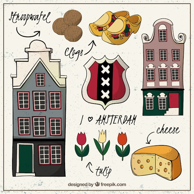 手描きアムステルダム市内要素 Premiumベクター