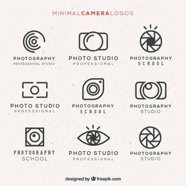 Минимальная камера логотипы пакет Бесплатные векторы