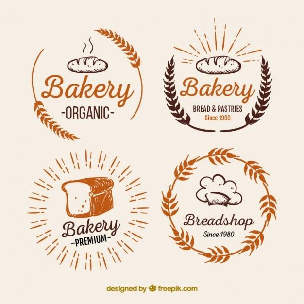 Хлебобулочные логотипы пакет Бесплатные векторы