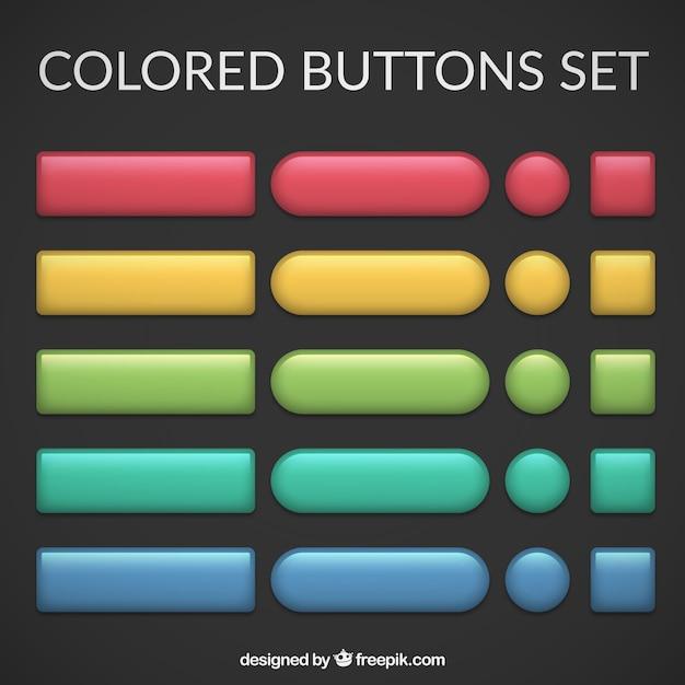 色のボタンは、設定します 無料ベクター
