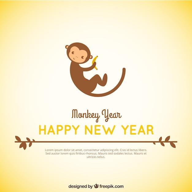 ラブリーモンキーバナナ新年の背景を食べます 無料ベクター