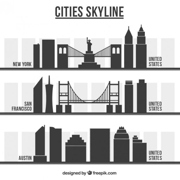 アメリカの都市のスカイライン 無料ベクター