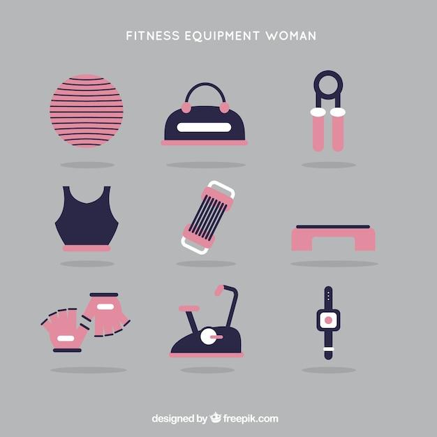Тренажеры для женщины в розовом цвете Бесплатные векторы