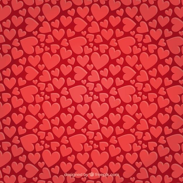 赤いハートとバレンタインパターン 無料ベクター