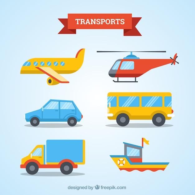 トランスポート収集のフラットデザイン 無料ベクター