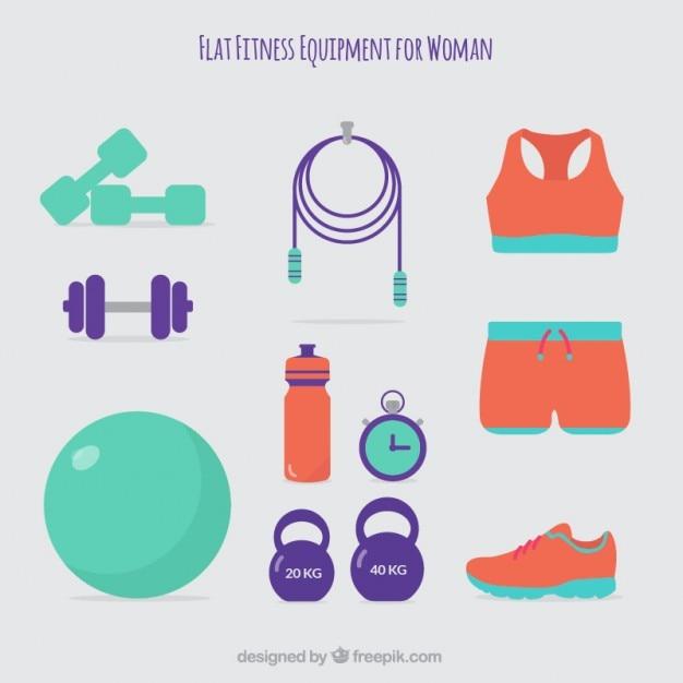 Симпатичные фитнес-оборудования для женщины в стиле плоской Бесплатные векторы