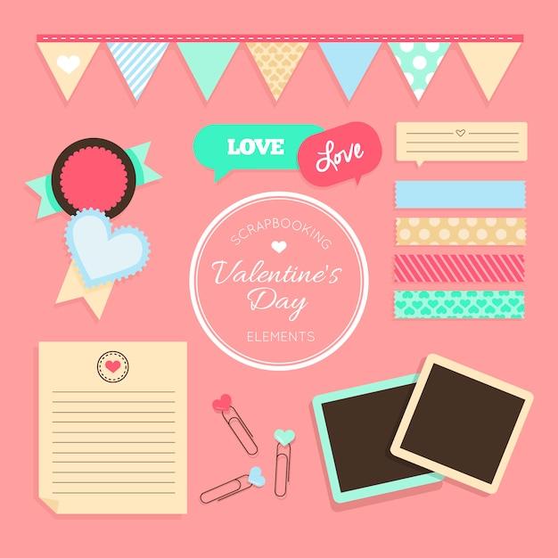 バレンタイン要素をスクラップブッキング 無料ベクター