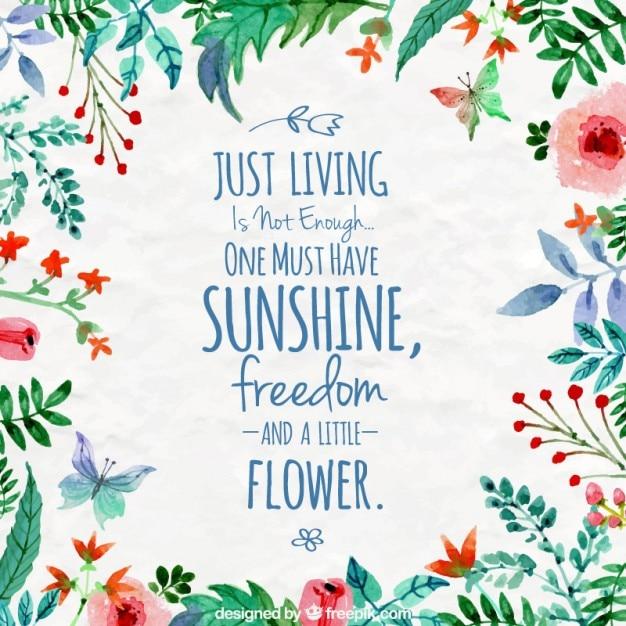感動的な引用と水彩花のフレーム 無料ベクター