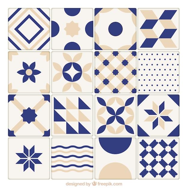 Синий и бежевый керамическая плитка коллекция Бесплатные векторы