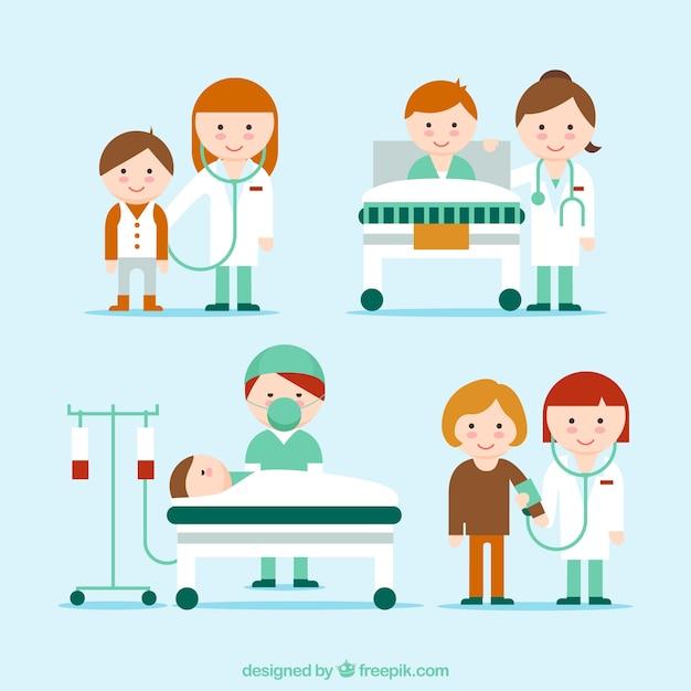 Хороший сбор медицинских ситуация Бесплатные векторы