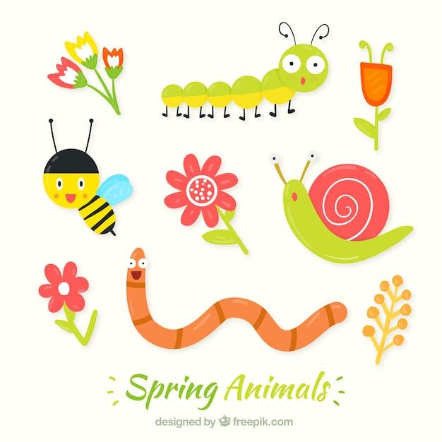 Хорошие насекомые весной Бесплатные векторы