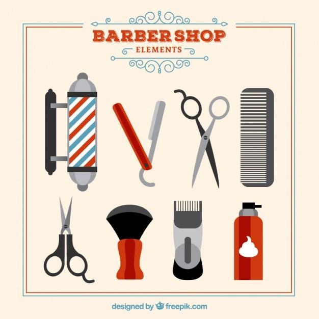 ヴィンテージスタイルに設定された理髪店の要素 無料ベクター