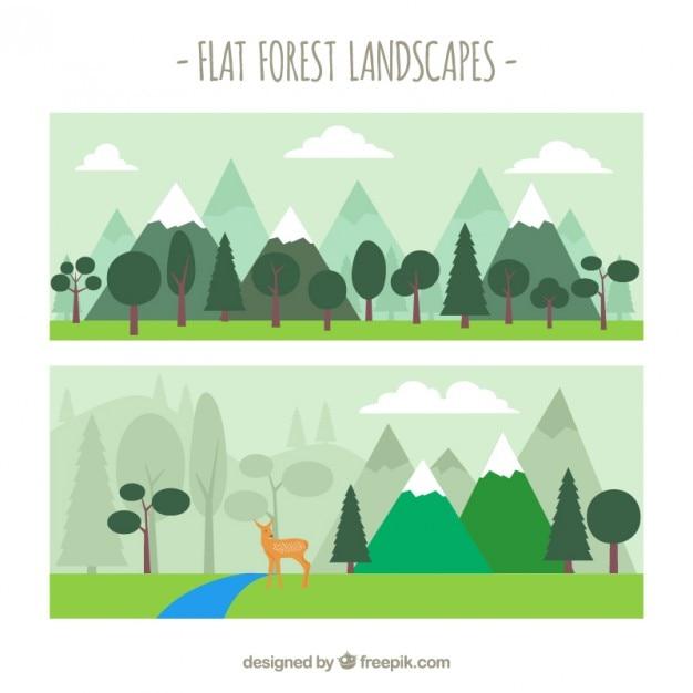 かわいいフラット森林景観 無料ベクター