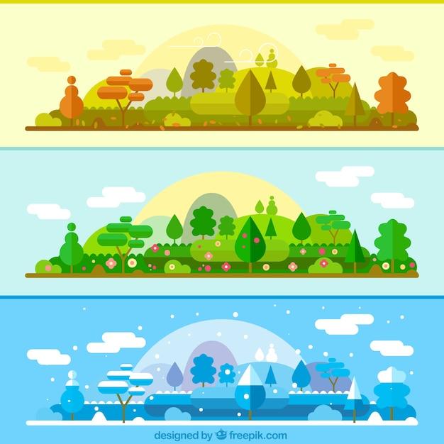 Тот же пейзаж в разные сезоны баннеров Бесплатные векторы