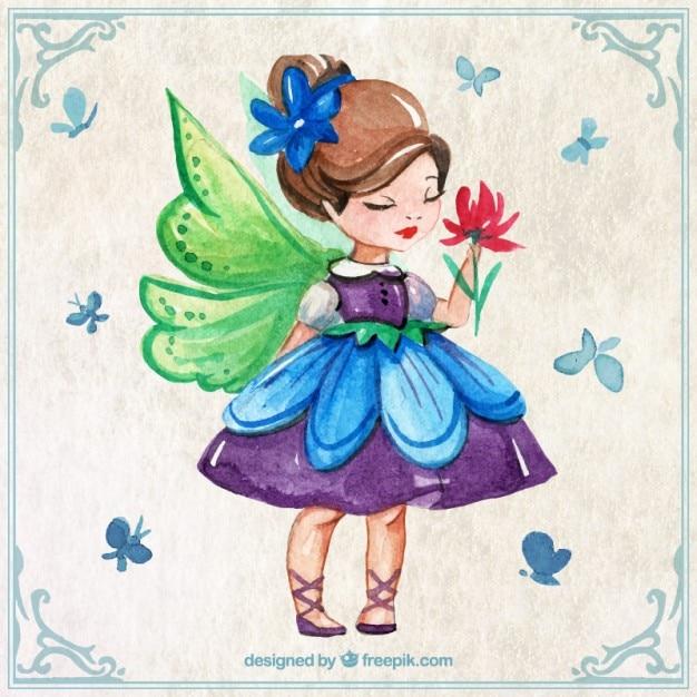 蝶と花と水彩美しい妖精 無料ベクター