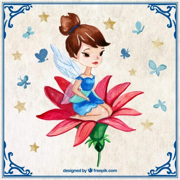 手は赤い花にはかなりの妖精を描きました 無料ベクター