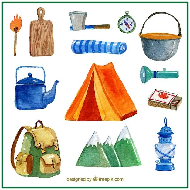 水彩キャンプのテントやキャンプ場の要素 Premiumベクター
