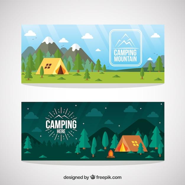森のバナーで手描きキャンプのテント 無料ベクター