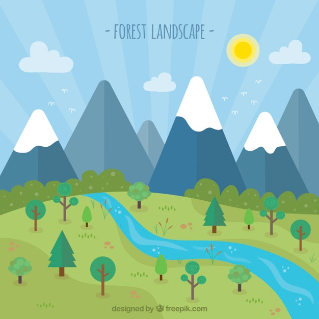 春にフラットな森林景観 無料ベクター