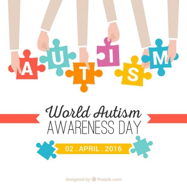 Руки с кусочки головоломки аутизм день фон Premium векторы