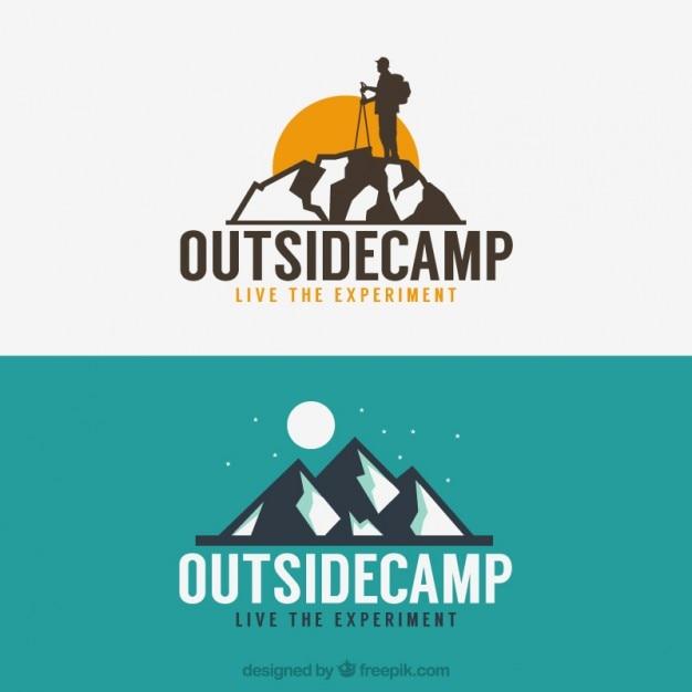 Приключения логотипы с горы Бесплатные векторы