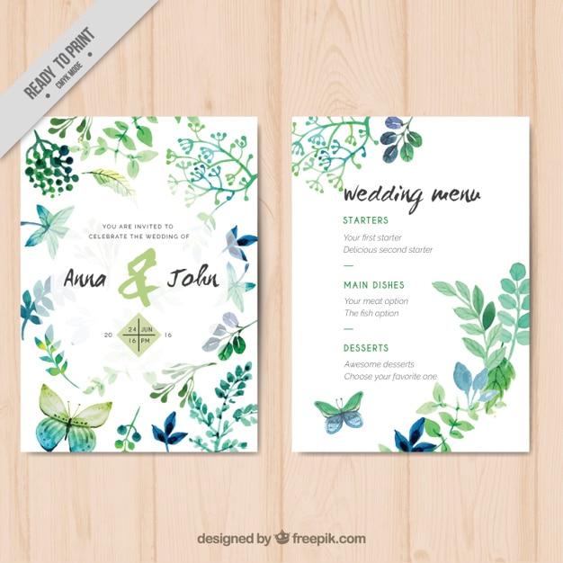 Свадебные приглашения с акварельными листьями и бабочками Premium векторы
