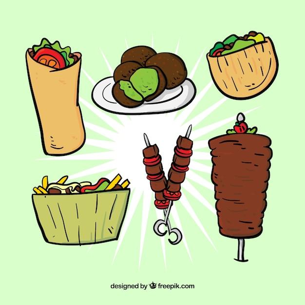 典型的なアラブ食品セットをスケッチ 無料ベクター