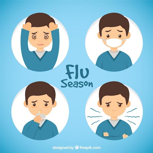 インフルエンザの症状と手描きの少年 無料ベクター